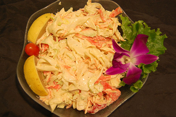 Crab Salad: Crab, Corn, Celery, Pickles, Lemon, Mayonnaise, Sour Cream.