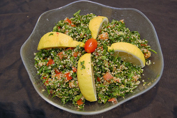 Tabouleh: Bulghur Wheat, Fresh Parsley, Green Onion, Tomato, Mint, Olive Oil, Lemon Juice, Aleppo Pepper.