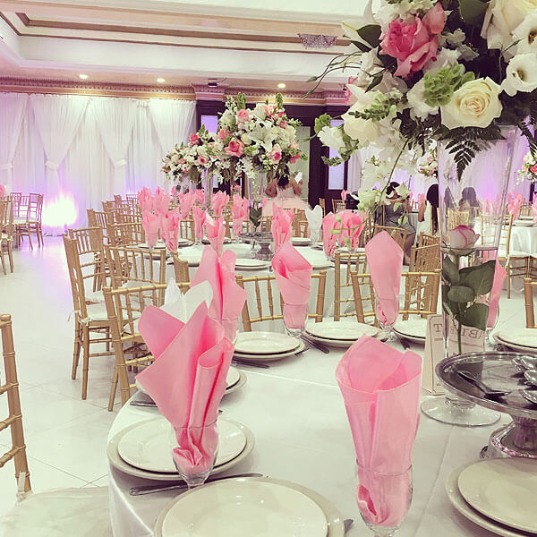Quinceanera hall decorations pink for Hall decoration images